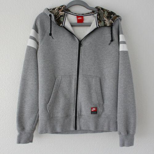 NIKE Gray Zip Up Hoodie Jacket Camo Interior - Men