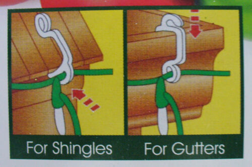 100 Pack Gutter Hooks Clips for Christmas Fairy /& Icicle Lights