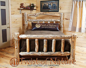 New! Queen Log Bed Deluxe double log sided Rustic Log Furniture Free Shipping!