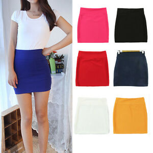 Image Is Loading Women High Waist Short Pencil Skirts Solid Stretch