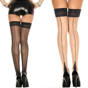 31dc66cc8f93c Image is loading Sheer-Thigh-High-Stockings-Backseam-Cuban-Heel-Top-