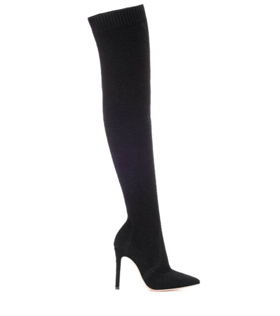 04569b124198 BNIB  GIANVITO ROSSI - bouclé knit Fiona over the knee boots - 37