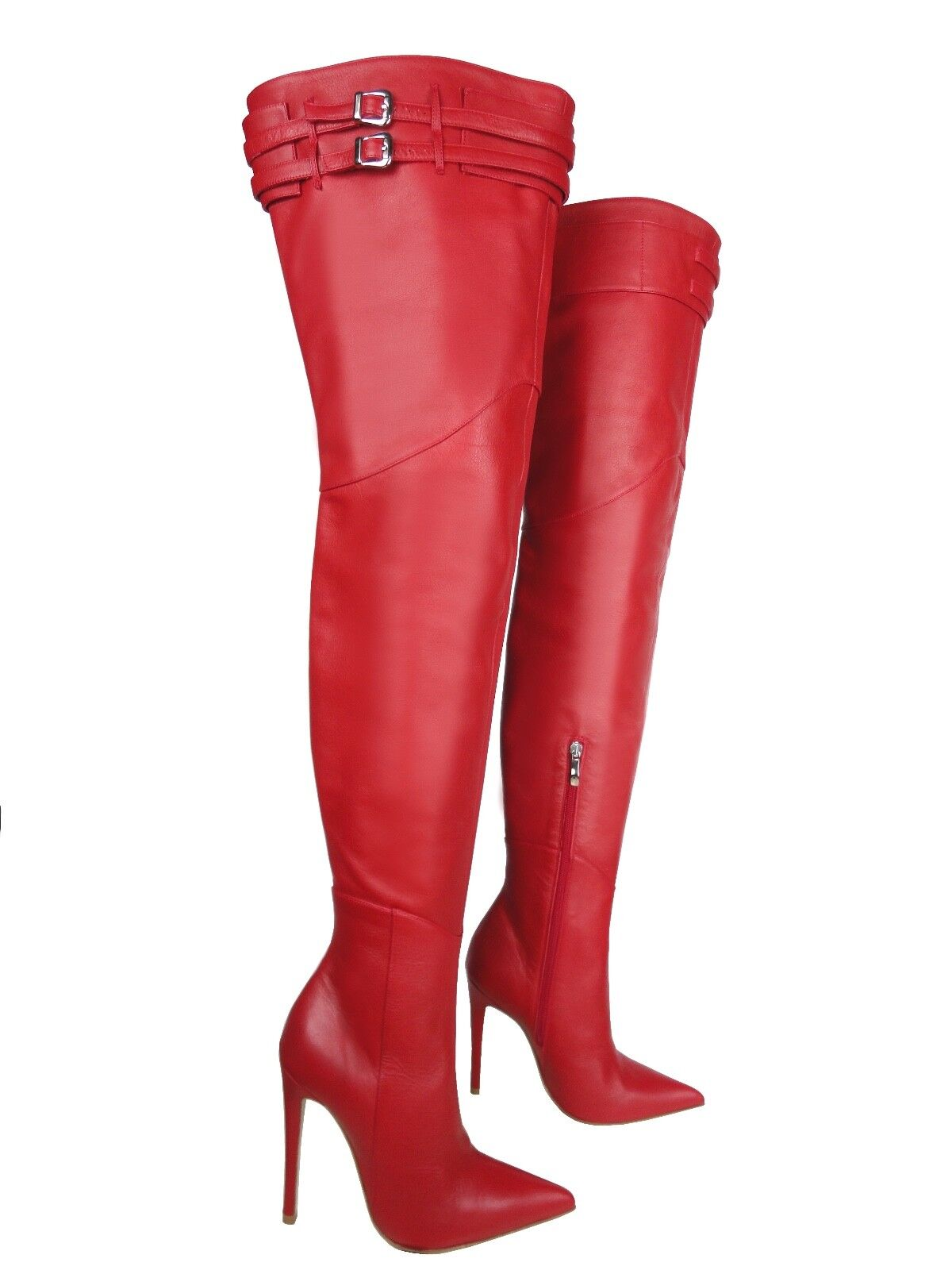 CQ COUTURE CUSTOM HEELS OVERKNEE BOOTS STIEFEL STIVALI LEATHER BELT RED ROSSO 44