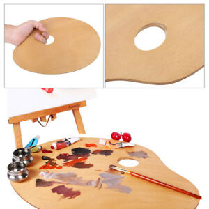 Natural-Wood-Artist-Oil-Paint-Palette-Painter-Wooden-Tray-W-Thumb-Hole-20-X-30cm