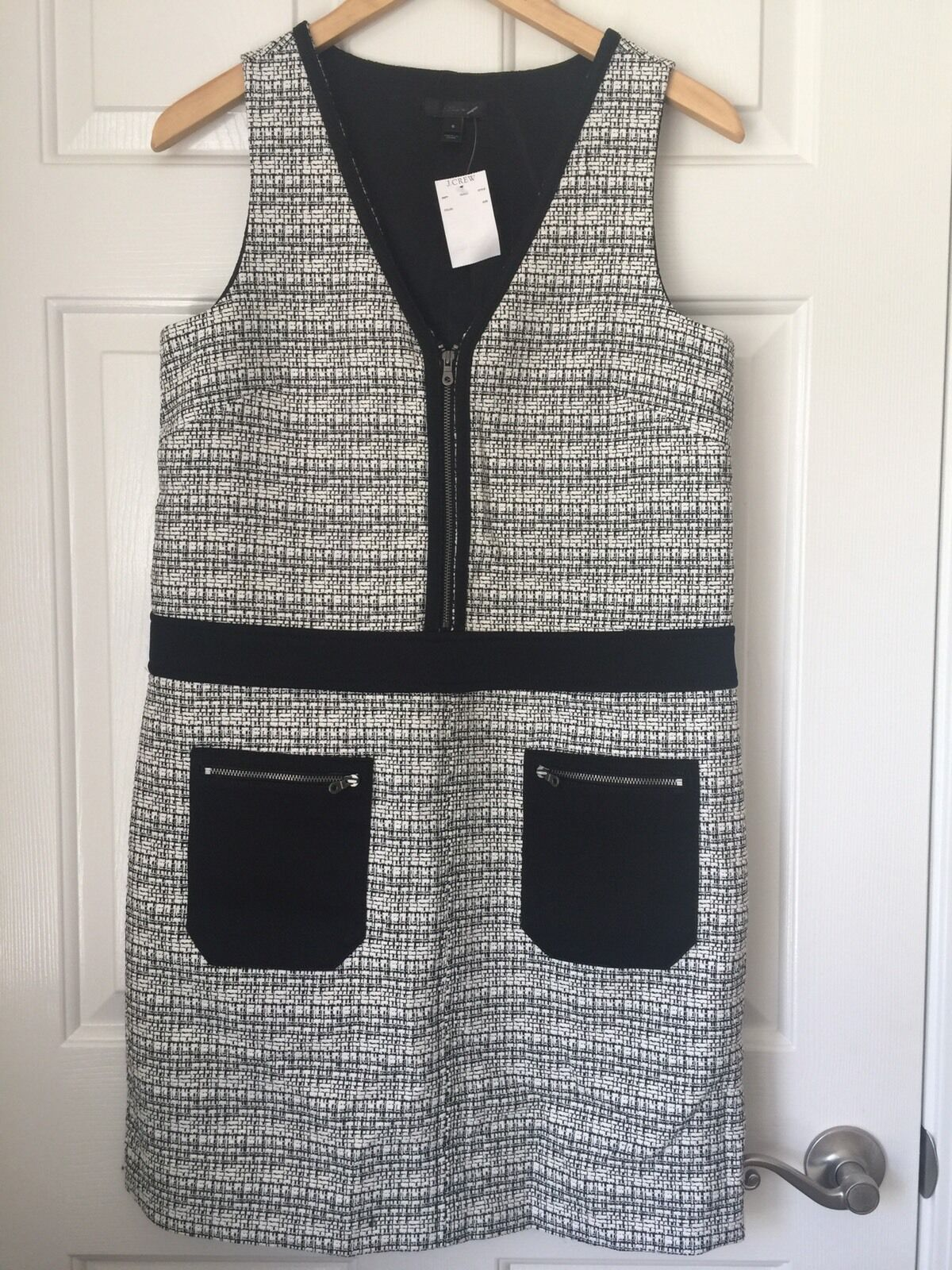 J Crew New grau schwarz Woven Dress Größe 6