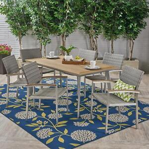 Erma Outdoor Aluminum 7 Piece Dining Set With Wicker