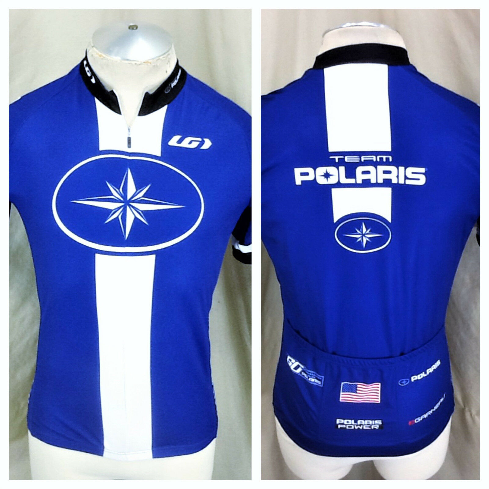New  Garneau Team Polaris Cycling Team (Medium) Retro 1 2 Zip Up Graphic Jersey
