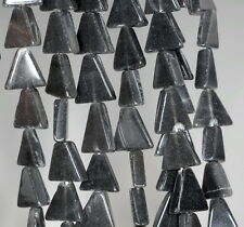 10X10MM BLACK MOONSTONE GEMSTONE BLACK GREY TRIANGLE NUGGET LOOSE BEADS 14""
