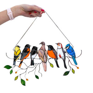 Stained Glass Birds-On-A-Wire Window Panel Hanging Sun Catcher Hardware x1