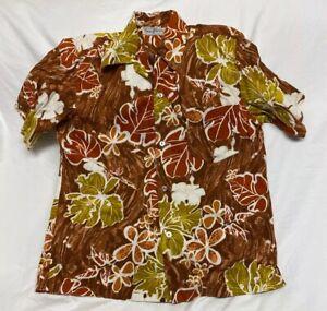 Vintage Hukilau Fashions Hawaii Aloha Brown Shirt Herren Größe M