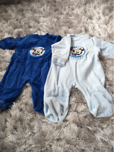 Boys All in one Blue 6-18 months CLEARANCE Disney  Velour Sleepsuit