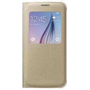 Genuine-Samsung-Galaxy-S6-ventana-inteligente-de-tela-de-vision-S-Abatible-Estuche-Cubierta-Oro
