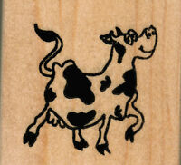Mounted Rubber Stamps Dancing Cow Lg Wood Mount 2 1/2 X 3