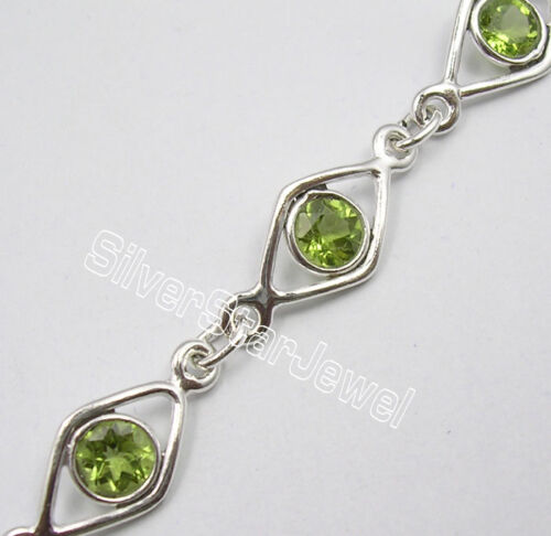 ".925 Solid Silver Original PERIDOT Gems UNISEX Bracelet 7 5//8/"" FACTORY DIRECT"