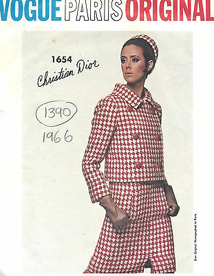 1966 Vintage VOGUE Sewing Pattern B34 SUIT BLOUSE JACKET DRESS (1390R) Dior