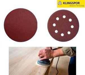 125mm-5-034-8-Hole-or-Plain-Sanding-Discs-Sandpaper-KLINGSPOR-Wood-Varnish-Paint