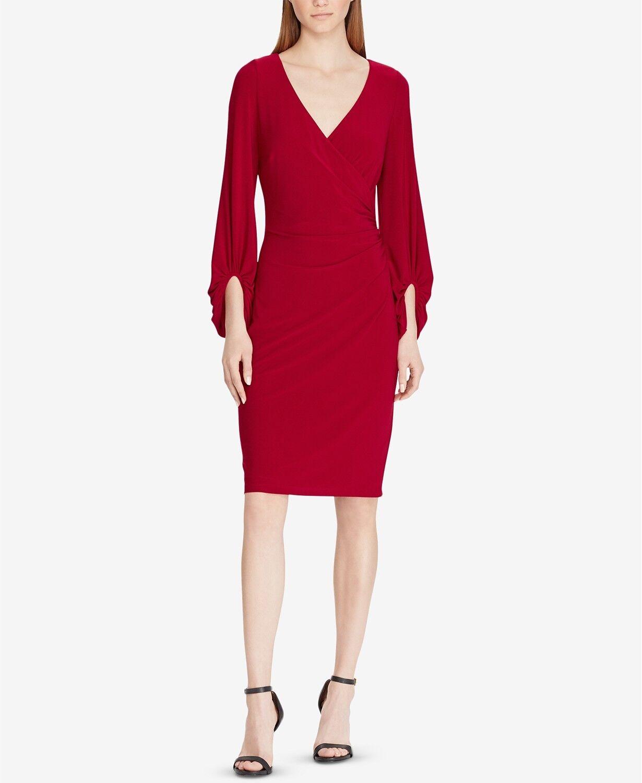 NWT Lauren Ralph Lauren FALL-2018 Surplice Dress Garnet size 4