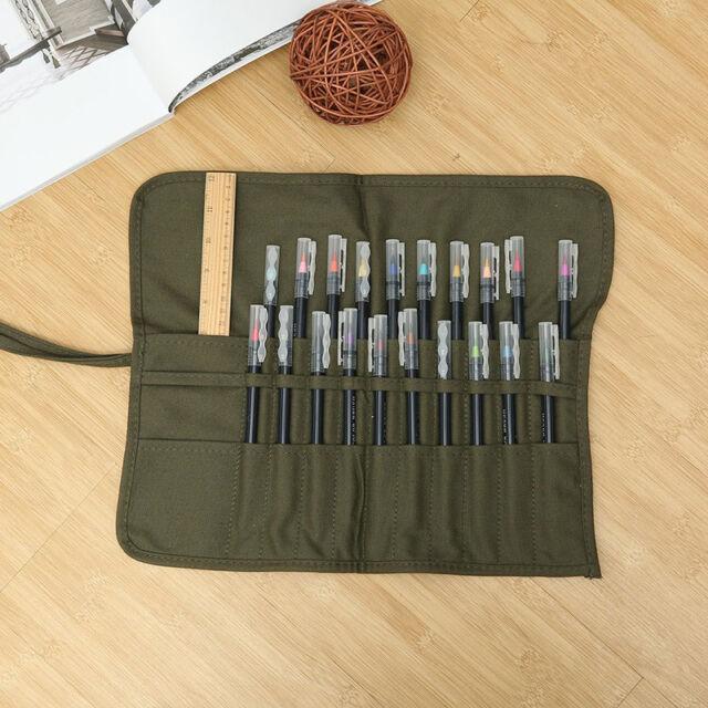 Artist Paint Brush Holder Roll Up Travel Canvas Bag Storage Organizer Case Pouch