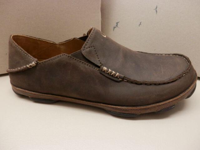 dd5f75c14ca OluKai Moloa Dark Wood Java Leather US Men s 11 Shoes Slip on for ...