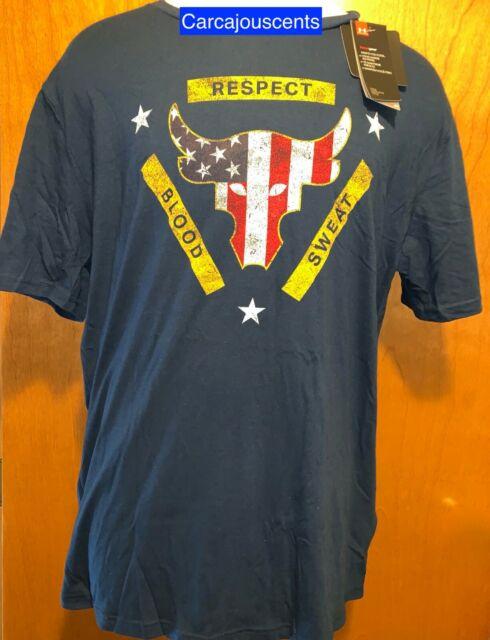 Nwt Rare Men MEDIUM Under Armour Project Rock Respect Black LS USA Shirt 1345583