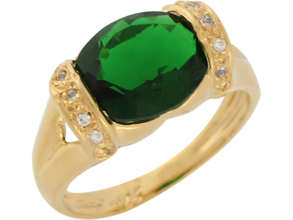 10k or 14k Yellow gold Simulated Emerald and White CZ Split Shank Ladies Ring