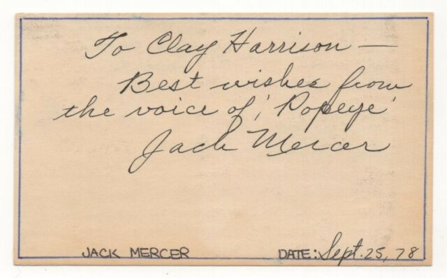 Jack Mercer - Voice Actor: Popeye, Felix the Cat, Superman - Signed 3x5 Card