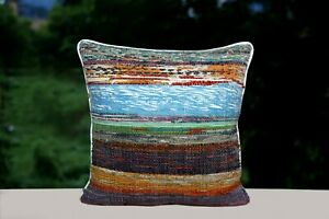 Indian-Rag-Rug-Pillow-Case-16x16-Hand-Loomed-Cushion-Cover-Square-Throw-Pillows