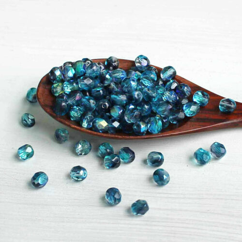 CB139 25 Czech Glass 6mm Beads Fire Polished Transparent Blues