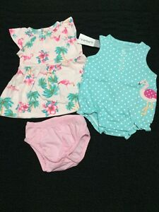 0e16b03cc49a NWT infant baby girl 3pc lot Carters summer dress romper outfit set ...