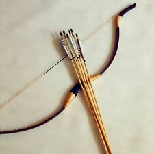 Bow combination brown leather longbow 20-60#+6 wooden arrow outdoor hunting