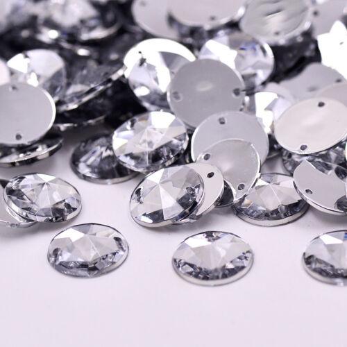 Grade A 50 x Sew On Stitch clear Jewel 10mm GEM CRYSTAL RHINESTONE TRIM UK