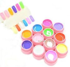 12 Gel Colors Soak Off LED UV Builder Cover Nail Art Polish Tips Kit Pure Color