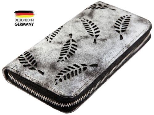Damen Geldbörse Portemonnaie Brieftasche Geldbeutel Frauen Groß Schwarz NEU