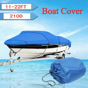 11-22ft Waterproof  Boat Cover Trailerable Ski Fish Bass V-hull Protector Blue
