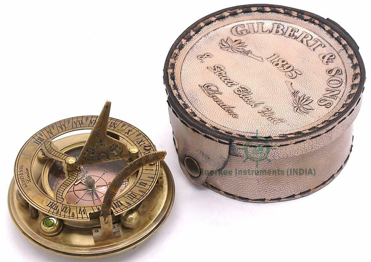 Nautical Brass Sundial Directional Compass with Leather Case Vintage Replica
