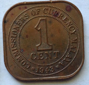 Commissioners of Currency Malaya 1 cent coin 1943