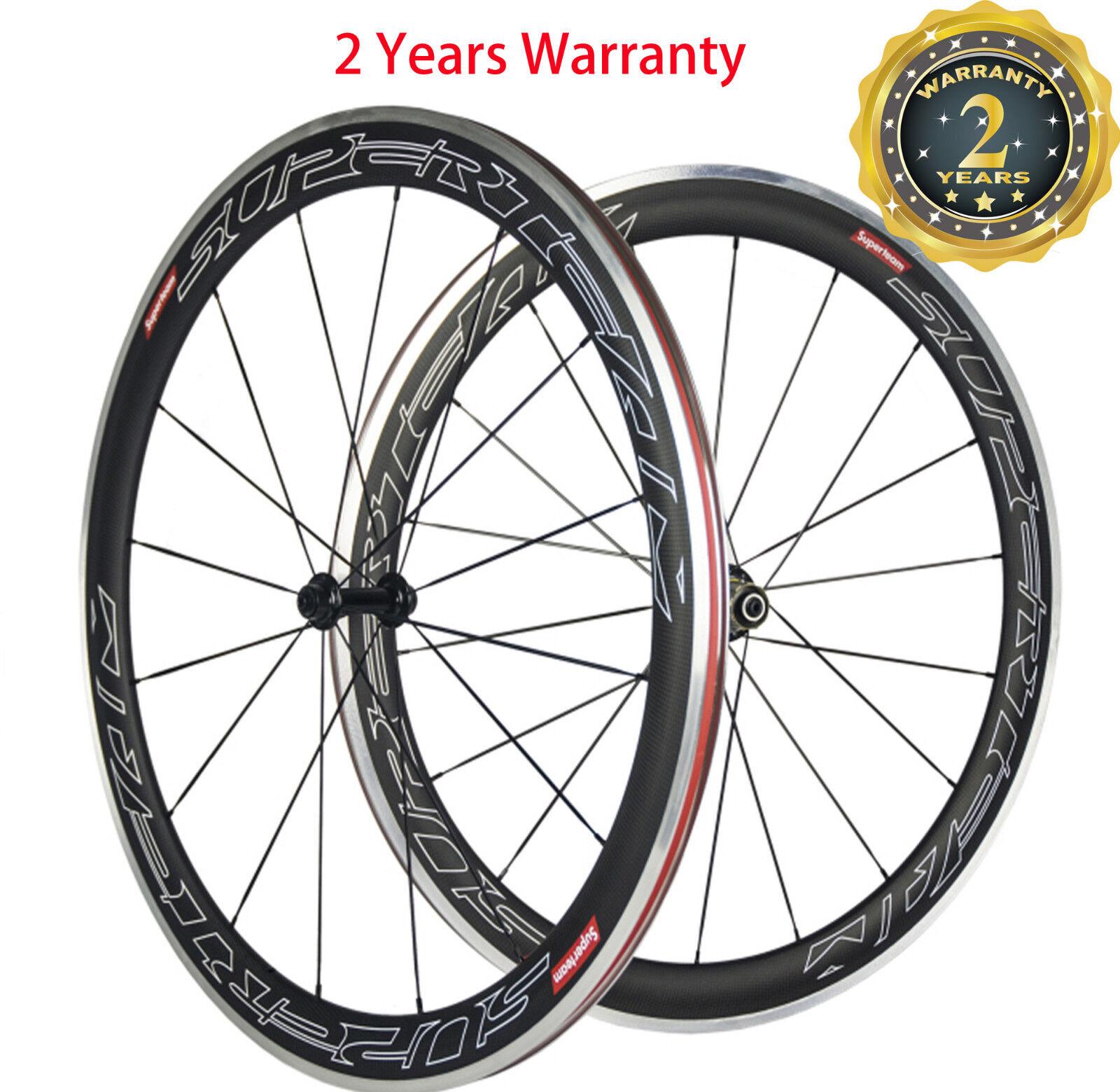 Superteam 50mm Carbon Bike Wheelset Carbon Bicycle Road Wheels 700C  Alloy Brake  save on clearance