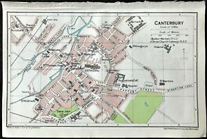Antique Color Map Canterbury England 100 Authentic Muirhead