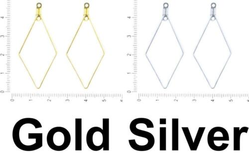 4pcs Plated Earring Hoop Ear Wire Rhombus Drop Pendant Component Metal Findin...