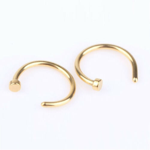 Small Thin Surgical Steel Open Nose Ring Hoop Piercing Stud Golden Black Color