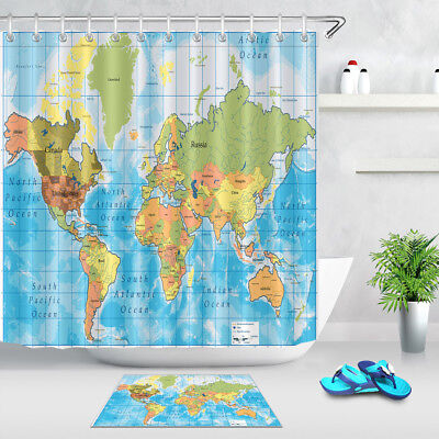 World Map Theme Fabric Shower Curtain Set 100% Polyester Bathroom Curtains  Decor | eBay