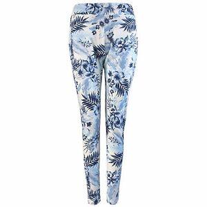 25518c2dc90 Details about NEW LADIES BLUE FLORAL PRINT STRETCH CIGARETTE TROUSERS WOMENS  LONG LOOK PANTS