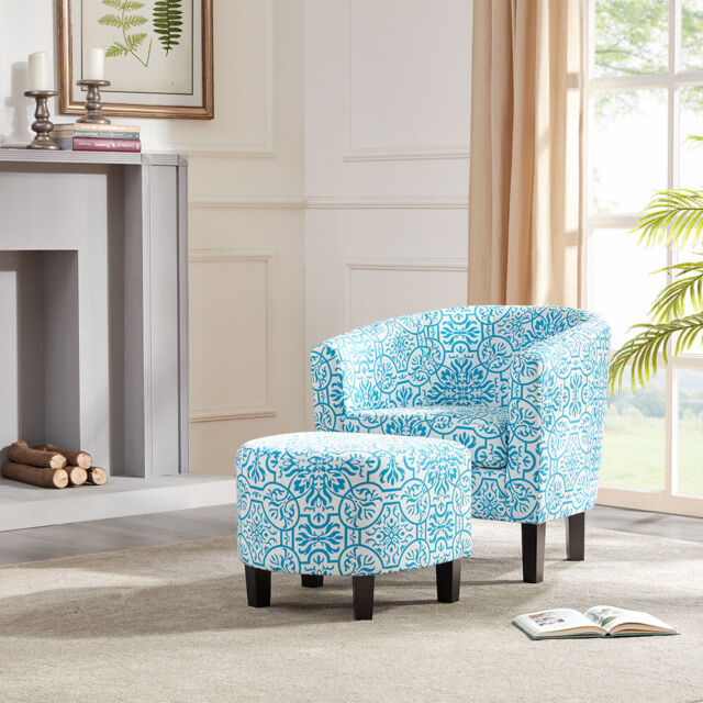 Superb Modern Curved Back Home Armrest Accent Chair Floral Print With Ottoman Blue Gmtry Best Dining Table And Chair Ideas Images Gmtryco