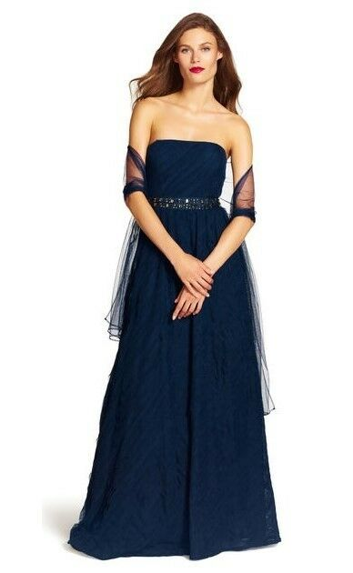 Adrianna Papell Strapless Layered Tulle Navy Jeweled Waist Gown W Wrap Sz 12 NWT