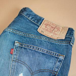 Vintage-Levi-501-Jeans-blau-Straight-Button-Fly-unisex-Patchw-36l36-W-34-L-31