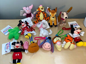 Disney Mixed Lot Of 13 Keychains Mickey and Minnie Mouse Plush- Many W/tags