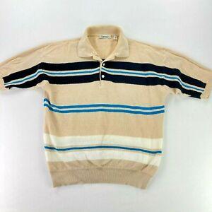 VTG Damon Herren Strick S/S Polo Shirt hellbraun/blau Streifen Rockabilly Mad Men * Medium