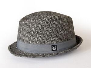 Gamble   Gunn  Hambrook  Grey Herringbone Stingy Brim Mod Style ... 2189a93c4bf