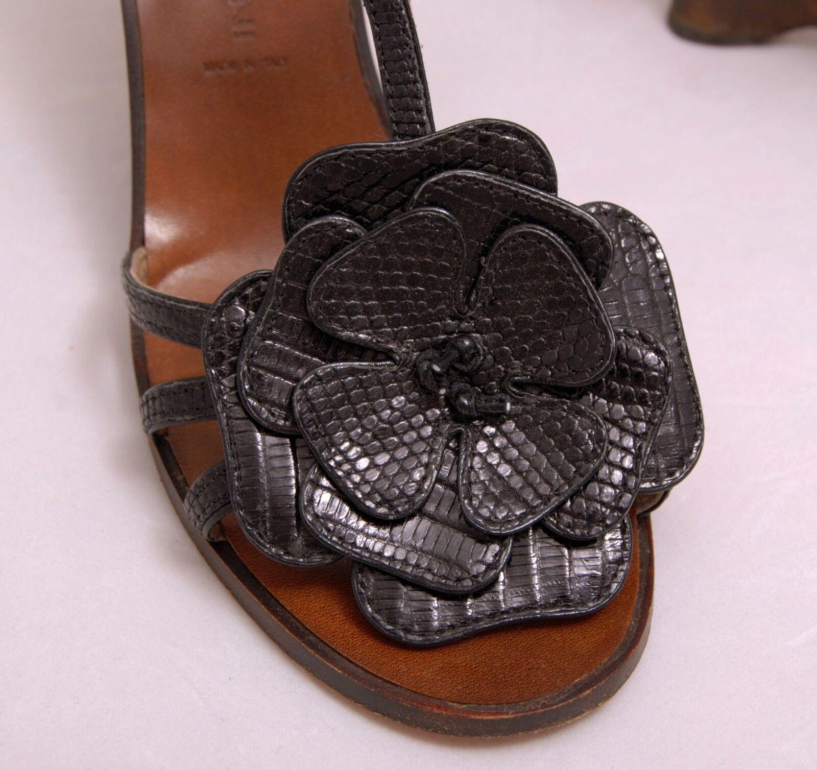 Boccaccini Black Lizard Embossed Embossed Embossed Leather Wedge Heel Italian Sandals, 39.5 US 8.5 5652b2