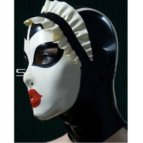 Latex Hood with Lace Forehead Maid Uniform Rubber Mask Cosplay Club Wear Costume